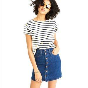 MADEWELL Stretch Denim Button Front Skirt  Size 24